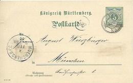 Entier Postal De 5 Pf Sur Carte Postale De Frossingen Pour München - Wurtemberg