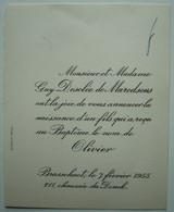 Faire-part Naissance Olivier Desclée De Maredsous. - Brasschaet, 1955. - Birth & Baptism