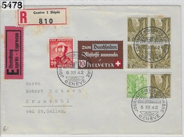 1942 Journee Suisse Du Timbre Geneve 254/405 J103/414 Charge 6.XII.42 To St. Gallen - Marcophilie