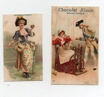 CHROMO Chocolat Klaus Couple Femme Laine Rouet Chat Homme Militaire (2 Chromos) - Chocolat