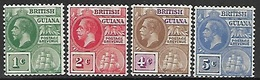 British Guiana   1913   Sc#178-81  1c / 2c / 4c / 5c Ships MH  2016 Scott Value $18.50 - Guyana Britannica (...-1966)