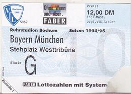 Germany VFL Bochum - Bayern Munchen -  1994 Bundesliga Match Ticket - Tickets D'entrée
