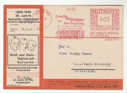 1933 Germany SOLVOLITH TOOTHPASTE 30th Anniv ADVERT CARD Illus METER Stamps SLOGAN  Cover Dentistry Health Medicine - Medicine