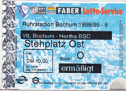 Germany VFL Bochum - Hertha BSC -  1998 Bundesliga Match Ticket - Tickets D'entrée