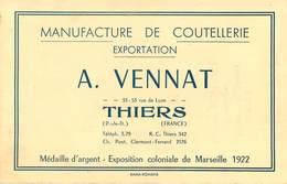 Vieux Papiers - Publicités - Thiers - Publicité - Manufacture De Coutellerie - A. Vennat - Reclame