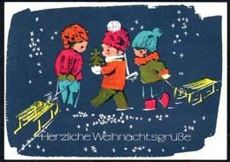 A8769 - Glückwunschkarte - Weihnachten Kinder Schlitten - DDR 1968 - Reichenbach Nr. 6363 Wongel ?? - Unclassified