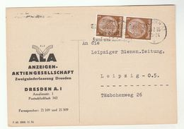 1935 Illus ADVERT COVER DRESDEN Anzeigen Aktiengesellschaft GERMANY Stamps Card - Germany