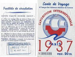CARTE DE VOYAGE-EXPOSITION- PARIS-MONTLUCON-VISITEURS-SNCF-AIR FRANCE-CHEMINS DE FER DE L'ETAT-FACILITES-CIRCULATION - Transportation Tickets