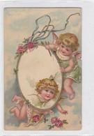 HAPPY  PLAYFULL ANGELS. BORD EN DORE. FLOWERS ROSES. VOYAGE CIRCA 1900- BLEUP - Engelen