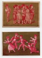 CHROMO Dorée Farine Mexicaine Enfants Jeu Le Colin-maillard Le Baiser De La Planche Rouge Rose Et Blanc (2 Chromos) - Chromos