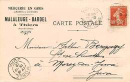 Vieux Papiers - Publicités - Thiers - Publicité - Mercerie En Gros - Laines & Cotons - Malaleuge Bardel - Reclame