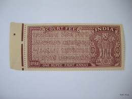 INDIA - Government Of India - Court Fee. 1Rs. 8As. One Rupee Eight Annas. MNH - 1950-59 République