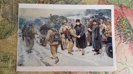 "KOREA NORTH, Propaganda Art -  Old Postcard "" Going Forward!"" 1950s - Kim Il-sung - Tank - Korea, North"