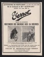 Publicité Papier 1926  Cycles Motos TERROT Dijon 21 Cote D'or Moto Motocyclette Circuit 24 Heures Montlhéry - Werbung