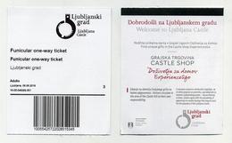 Ticket Aller Ou Retour Funiculaire D'accès Au Château De Ljubljana (Slovénie) - Funicular Slovenia - Autres