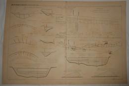 Plan De Travaux D'amélioration Du Rhône. Système Mixte Des Digues Et Des épis. 1891. - Travaux Publics