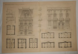 Plan De Petits Hôtels, Rue Le Verrier à Paris. M. H. Tassu, Architecte. 1891. - Travaux Publics