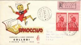 1954 - PINOCCHIO - FDC VENETIA - RACCOMANDATA - 6. 1946-.. Repubblica
