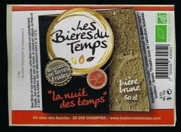 Etiquette Biere Brune 6,5% 50cl  La Nuit Des Temps  Brasserie Les Bieres Du Temps Champier 38 - Beer