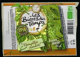 Etiquette Biere Dorée 7,5% 33cl  Tempête Amère IPA  Brasserie Les Bieres Du Temps Champier 38 - Beer