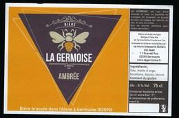 Etiquette Biere Ambrée 5% 75cl  La Gersoise  Brasserie Bulle's Germaine 02 - Beer
