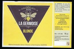 Etiquette Biere  Blonde 6% 75cl  La Germoise  Brasserie Bulle's Germaine 02 - Bière