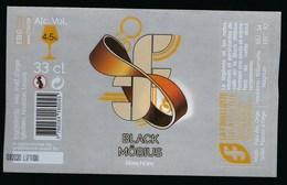 Etiquette Biere  Noire Black Möbius 4,5% 33cl  La Germoise  Brasserie  La Fouillotte Epinal 88 - Beer