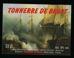 """Etiquette Biere Blonde  Tonnerre De Brest 8% 33cl   Brasserie Tonnerre De Brest 29 """"bateaux"""" - Beer"""