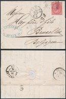Italy 1869 Postal History Rare Cover + Content 40C Belgium Torino Bruxelles DB.424 - 1861-78 Victor Emmanuel II