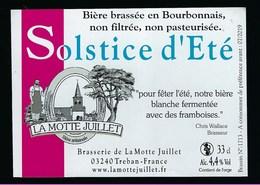 Etiquette Biere Blanche Solstice D'été 4,4% 33 Cl   Brasserie La Motte Juillet  Treban  03 - Beer