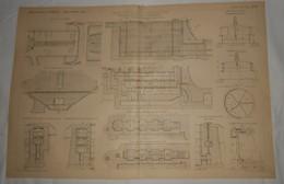 Plan D'un Projet D'écluse De 20 Mètres De Chute. M. Fontaine, Ingénieur En Chef. 1891. - Public Works