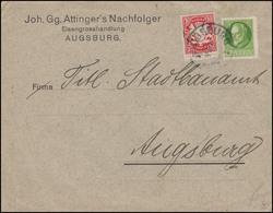 Bayern Orts-Brief Eisengroßhandlung AUGSBURG 4.3. Zum Stadtbauamt, INFLA-geprüft - Fabrieken En Industrieën