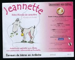 Etiquette Biere Blonde De Caractère  6% 33 Cl Jeannette Brasserie Des Rieux - Beer