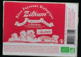 Etiquette Biere Ambrée Paysanne Biologique  5% 75cl  Zithum Ferme  Brasserie La Bourdette Gaillac Toulza 31 - Beer