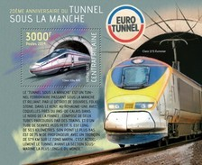 CENTRAFRICAINE 2014 SHEET THE CHANNEL TUNNEL SOUS LA MANCHE TRAINS EUROTUNNEL Ca14104b - República Centroafricana