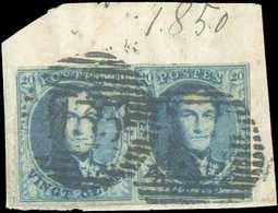 N°4(2) - Médaillons 20 Centimes Bleus En Paire, Timbre Gauche Légèrement égratigné Au Coin Supérieur Gauche, Sinon TB Ma - 1849-1850 Médaillons (3/5)