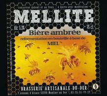 Etiquette Biere Ambrée  Mellite  5,3% 75cl  Brasserie Artisanale Du Der  Montier En Der 52 - Beer