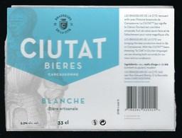 Etiquette Biere Blanche Ciutat 5,3% 33cl  Brasserie De La Cité Carcassonne 11 - Beer
