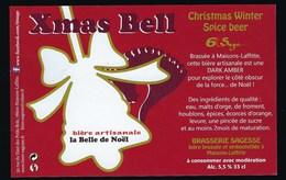 Etiquette Biere  Artisanale La Belle De Noël 5,5%  33 Cl Xmas Bell  Brasserie Sagesse  Maisons Lafitte - Beer