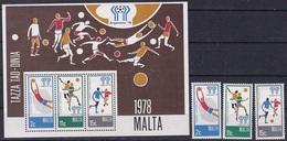 Soccer Football Malta #571/3 + Bl 5 World Cup 1978 Argentina MNH ** - Coupe Du Monde