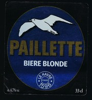 """Etiquette Biere  Blonde Paillette  4,7%  33 Cl  Brasserie  Paillette Le Havre Fondée En 1596 """"mouette"""" - Beer"""