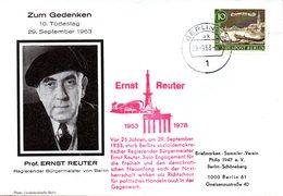 """(BT1) WB Sonder-Umschlag """"10.Todestag Von Prof. ERNST REUTER"""" EF Mi 219 SSt. 29.9.63 BERLIN 12 - Berlin (West)"""