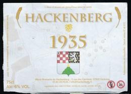 Etiquette Biere  Ambrée Hackenberg 1935  6%  75 Cl  Brasserie  Du Hackenberg  Veckring 57 - Beer