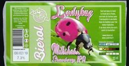 """Etiquette Biere Ladybug  Bierol  7,3%  33 Cl  Brasserie   Zoobrew  Castelnau Le Lez 34 """"coccinelle"""" - Beer"""