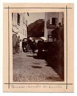 """0211 """"MESOCCO SVIZZERA-HTL DE LA POSTE-CAMBIO DEI CAVALLI - TORINO- MONUM. A E. FILIBERT"""" ANIMATA. FOTO ORIG. FINE XIX - Lieux"""