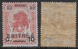 Italia Italy 1922 Colonie Eritrea Somalia Soprastampati C10 Su 1A Sa N.56 Nuovo Integro MNH ** - Eritrea