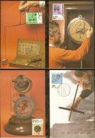 1986 - Max.cards Zegelkoerier 4 T/m 7 - Summerstamps - Instruments - Balance - Clockwork - Barometer - Sextant [KD020] - Maximumkaarten