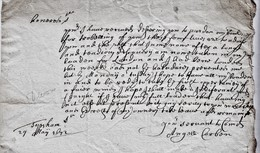 """1672 Letter From """"Angell Corben, Topsham"""" To """"John Moore (future Lord Mayor), London"""".  Ref  0570 - Autographs"""