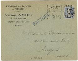 CHOLET  MAINE ET LOIRE 1933  Daguin Double Cercle - Marcophilie (Lettres)