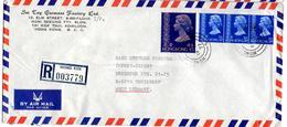Lettre Par Avion Recommandée De Hong Kong_Mong Kok (19.08.1977) Pour Troisdorf _QEII - Covers & Documents